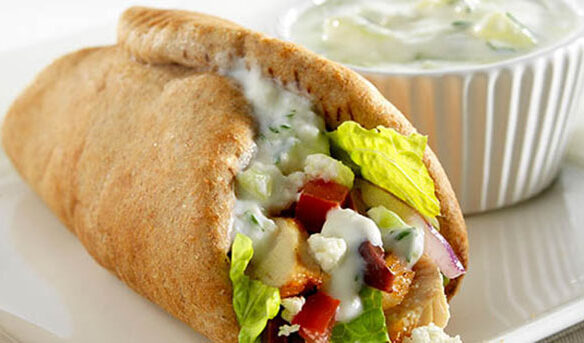 Southeast Dairy Association - greek chicken wrap with tzatziki herb yogurt sauce