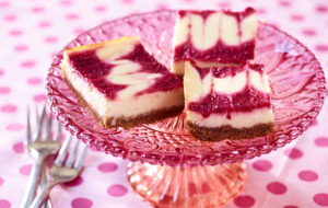Southeast Dairy Association - Lemon Greek yogurt cheesecake bars with berry swirl