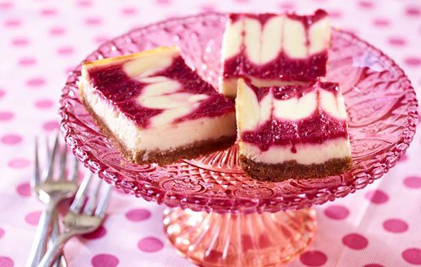 Southeast Dairy Association - Lemon Greek yogurt cheesecake bars with berry swirl