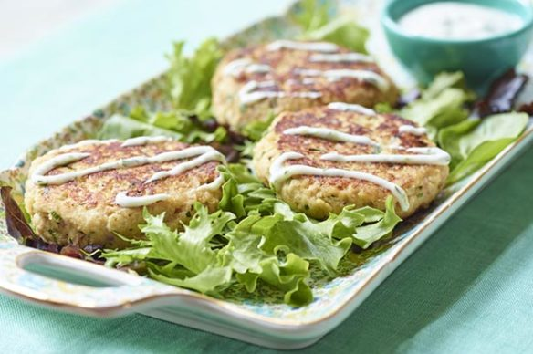Southeast Dairy Association - Salmon Cakes with Coleslaw and Lime Dill Yogurt Sauce