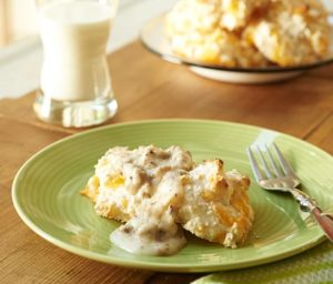 Southeast Dairy Association - cheddar drop biscuits with sausage